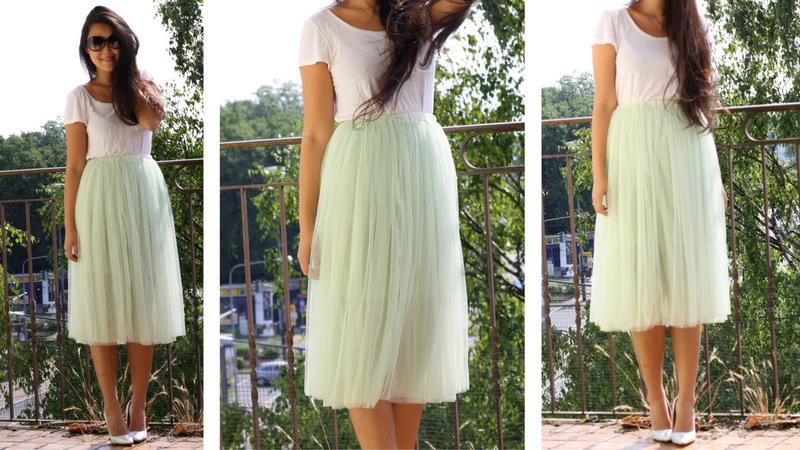 White tee. Mint midi skirt. silver heels.