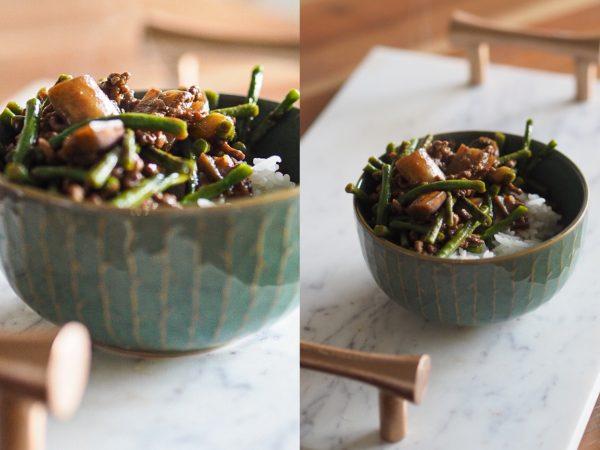 Rezept: Aubergine, lange Bohnen & Hackfleisch in Austern Soße