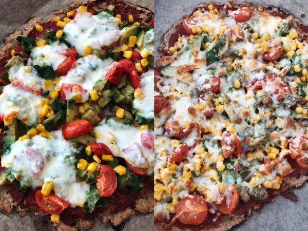 Rezept: Low Carb Pizza mit Thunfisch-Hafermehl Boden, Avocado und Tomaten